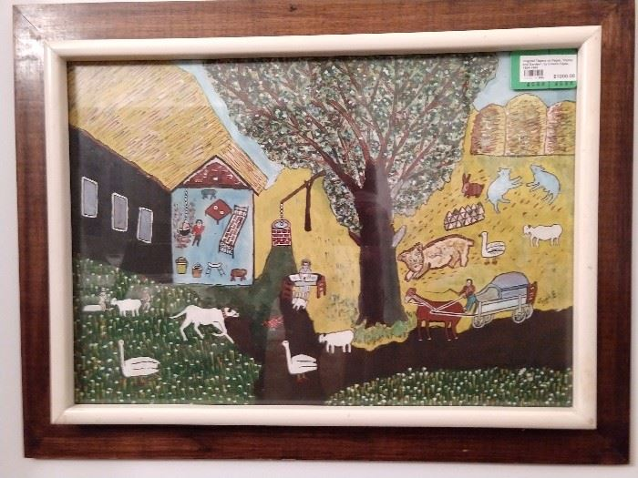 "Original tempura on paper, ""Home and garden"", by Emerik Fejes, 1904-1959."