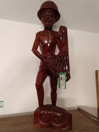 Hand carved Indonesian fisherman - 3' tall.