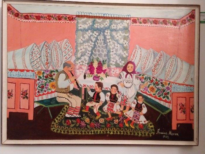 "Original oil on canvas, ""The Family"", by Maran Anujka (Serbia), 1918-1983."
