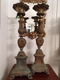 Gorgeous brass Christian church pillar candle stands, with perfect patina!