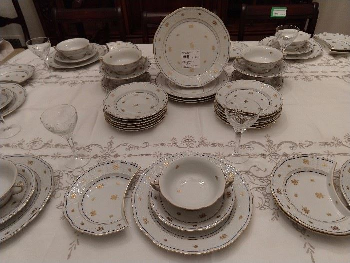 """Part of the 148-piece set (yep, 148 pieces!) of Herend  """"Coronation"""" or """"Battyhány"""" pattern china.                                                                                                            It's pretty and as the Herend brochure states, """"the pattern captivates with its noble, yet playful distinction"""".       LOL!"""