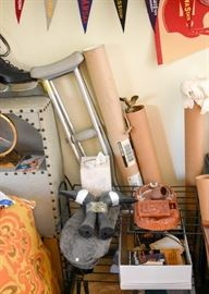 Crutches, Iron Shelving Unit, Home Decor, Etc.