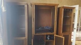 Wood bookcase  $50 each   Wood armoire   $50