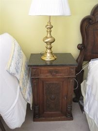 Pair of Black marble topped bedside tables Eastlake Victorian