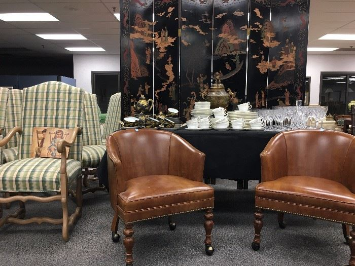 Barrel Back Leather Armchairs,
