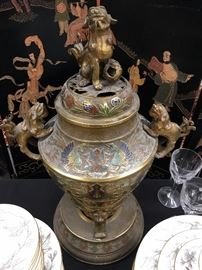 Detail of Enameled Bronze Censer with Foo Dogs