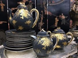 Tea Set with Gilded Chinese Dragon