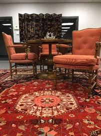 Octagonal Adjustable Height Pedestal Table From Old Colony Furniture  Company, Persian Wool Rug, French