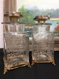 Hawkes Crystal Dresser Set with Sterling Lid and Foot