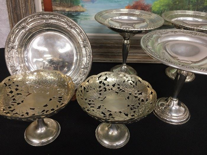 Chinese Silver Compote on Pedestal, Sterling Compotes