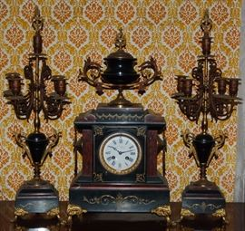 C Detouche 3 Piece Mantel Clock