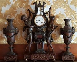 Symphonie Printaniere Franch Mantel Clock with Urn Garniture