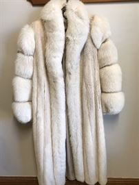 Full length mink coat with dyed Fox Fur sleeves - made in Finland