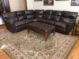 Large brown leather sectional sofa