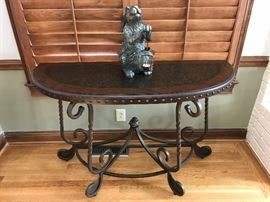 Wrought iron & wood sofa table