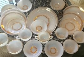 50th Golden Anniversary Foistoria Milk Glass Set Over 40 pieces: 8 plates, 8 bowls, 8 saucers,  6 cups, 7 dessert bowls, 1 serving plate, 1 large serving bowl, sugar & cream server.