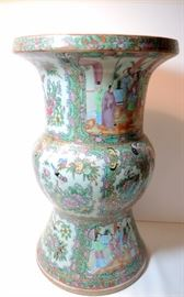 "Rose Mandarin Floor Vase.   Excellent condition.  Approximately 16 ¼"" tall x 10"" diameter"