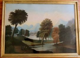 "19th Century Pastel Bucolic Landscape With Figures and House In Background In The Style of Thomas Chambers.   Original lemon gold frame and back.  20 ½"" x 28"" sight.  Overall 23"" x 31""."