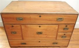 "China Trade Camphor Wood Seaman's Multi Drawer Chest.    Brass edging and handles with recessed pulls.  40"" x 22"" x 25"""
