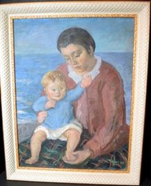 "Oil on Canvas of Brooks and Frances Colcord, Searsport 1932 Signed Front and Verso Waldo Pierce.   19"" x 25"" sight.  Overall size with frame  22 ½"" x 28""  Provenance on verso."