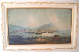 "Hong Kong School Port On   Canvas.  Depicts sailing vessels in harbor, naked natives and women with parasols in foreground.  Craquelure throughout, uncleaned, appears to be in painted on perimeter.  18"" x 31"" image.  23"" x 36"".   Note states painting brought back in 1867 by Jeremiah Sweetser of Searsport.  1827-1877."
