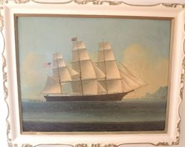 "Oil on Canvas Ship Mary Goodell Searsport Maine 1854 Hong Kong School.  Relined 1943 by Jean Bohn New York.  Craquelure throughout.  24"" x 18"" image.  27"" x 22"" including frame.  Original frame has been repainted."
