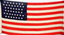 Choice 44 Star American Flag.   Circa 1890 admission of Wyoming to Union, signed Lamprell & Marble Mfrs Boston Mass.  6' x 12'  Excellent condition.  Original canvas storage bag.