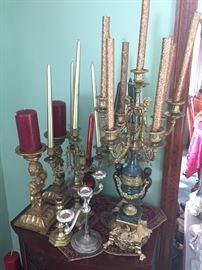Nice marble and brass candelabra's and candle sticks