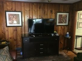 "50"" flat screen tv and tv console"