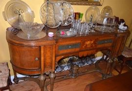 Inlaid sideboard; nice selection of glassware