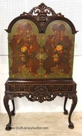 — FANTASTIC —  10 Piece Highly Carved and Ornate Walnut depression Dining Room Set  Original Paint Decorated China Cabinet, Marble Top Sideboard and Marble Top Server in very good condition  Located Inside – Auction Estimate $2000-$4000