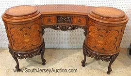 — ONE of the BEST —  9 Piece Satinwood and Rosewood Inlaid American French Style Bedroom Set  with Highly Carved Accented Frame in Original Finish with Full Size Bed  Located Inside – Auction Estimate $4000-$8000