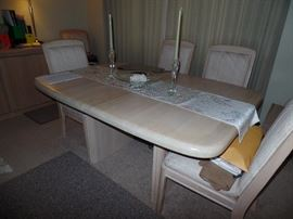 Stunning Dinging Room Table w/6 chairs, 1 leaf and pads also has matching buffet and bar w/electrical outlet