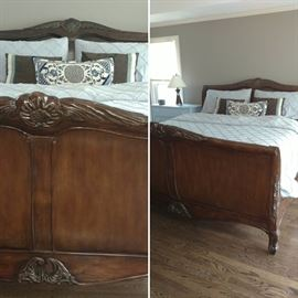 Wood, king bed frame with headboard and footboard