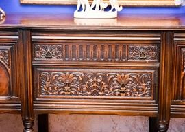 BUY IT NOW! Lot #101, Stunning Antique Carved Sideboard / Buffet (Overall good condition with some water marks, dings & scratches), $350