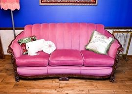 BUY IT NOW! Lot #105, Outstanding Heavily Carved Hot Pink Upholstered 3-Seat Sofa, $350