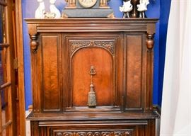 BUY IT NOW! Lot #104, Antique Carved China Cabinet (Overall good condition with signs of use), $400
