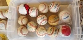 Just a few of the balls given to the owner by team players who were often guests in her home.