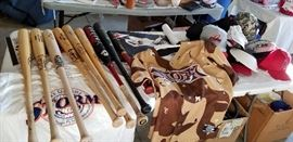 Signed bats used in games and some signed by the user with Storm baseball caps like new and more.