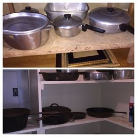 cast iron cookware and Magnelite--both houses have some