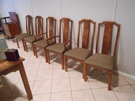 Set of 6 burled back dining chairs