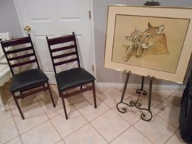 Fold up pair of chairs, Easel and picture