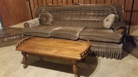 Clean Brown Sofa w/ carved wood detailin $125 Solid wood coffee table  $40