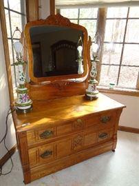vintage low boy chest w/mirror
