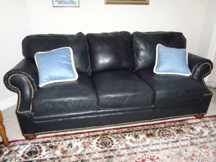 nice leather sofa w/nailhead trim