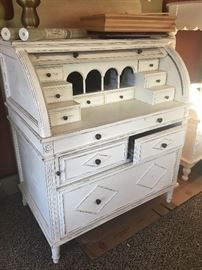 White roll top desk- Beachy Chic
