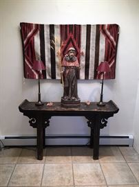 Antique Chinese altar table ca 1860 and antique Saint Francis