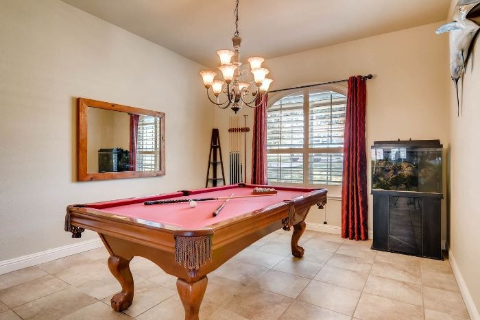 Pool table and accessories, salt water fish tank, mirror.