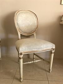 Whitewashed & Gilt Empire Style  Dining Chairs   450.— (set of four)
