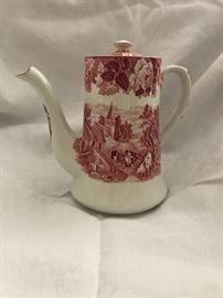 Woods Ware 'English Scenery Pink' Coffee Pot   48.—